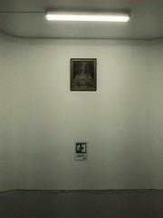 (Johan Orozco) Tags: emergencyexit jesuschrist fluorescentlight hospital grayandwhite glareye mobilephotography johanorozco