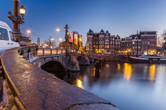 Along The Bridge (tristanotierney) Tags: longexposure sunset water netherlands amsterdam night canal europe thenetherlands canals clear nd slowshutter nederlands ams longexpo