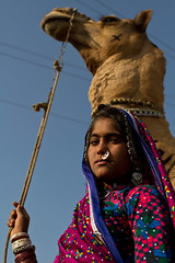 Rabari girl with camel. Small Rann of Kutch, Gujarat. India (NeSlaB .) Tags: poverty travel portrait people woman india colors girl beauty look youth canon children nose photo eyes women asia veil carriage dress desert painted traditional country paintings young culture photojournalism tribal ring clothes rings ornaments nomad bracelets earrings tradition tribe ethnic society chariot gujarat developingcountries reportage nationalgeographic ethnography rabari ethnology nomadic kutch kachchh rann ethnies neslab davidecomelli