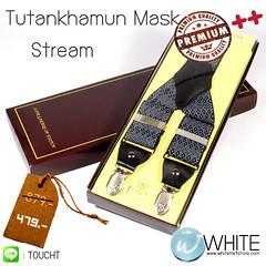 Tutankhamun Mask Stream - สายเอี้ยม (Suspenders) สายสีน้ำเงินเข้ม ลายจุดน้ำเงินเข้ม จุดดำ จุดขาว ขนาดสาย กว้าง 3.5 เซนติเมตร