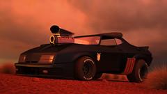 Mad Max Interceptor 3D Cartoon - Sunset (konceptsketcher) Tags: auto cars ford film illustration computer design 3d cg desert dusk badass apocalypse falcon madmax coupe xb 1973 generated hdri interceptor 2014 vray 3dmax konceptsketcher