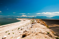 Blue (wenzday01) Tags: statepark park travel sky reflection beach nature water utah ut nikon rocky bluesky pebbles antelopeisland saltlakecity saltlake greatsaltlake nikkor antelopeislandstatepark d90 nikond90 18105mmf3556gedafsvrdx