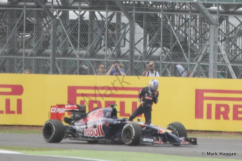 Jean-Eric Vergne's Toro Rosso stuck during Free Practice 2 at the 2014 British Grand Prix