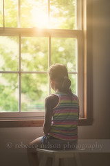 (Rebecca812) Tags: portrait sunlight window girl childhood vertical kid alone child stripes thoughtful growth ponytail stool seated atmospheric oneperson introspective rainbowstripes mullions canon5dmarkii rebecca812