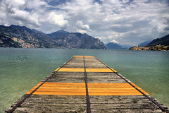 Malcesine pier (edwin van buuringen) Tags: italy lake mountains mountainlake hdr malcesine lagodigarda dynamicphotohdr sonyslt77v