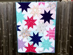 Sparkle Quilt (Megan @ Sweet Feet Stitches) Tags: pink blue white feet sarah modern star michael aqua purple quilt jane lets sweet handmade royal sparkle miller fabric stitches kona pretend minky aurifil