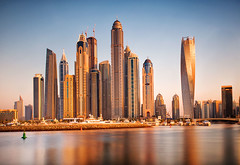 High-Rise-Sunset (petefoto) Tags: sunset sea water yellow architecture marina boats dubai skyscrapers highrise filters foreshore breakwater polariser nd110 nikond700 leefilters09sgrad