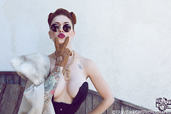 LouLou D'vil 2 (TravisHaight) Tags: california light portrait beauty fashion tattoo canon photography model glamour natural tattoos haight travis corset mk2 5d brunette dslr loulou bodysuit performer burlesque pinup mkii tattooed dvil lhollywood