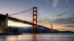 GoldenGateBridge06_8896 (thefatrobot) Tags: sanfrancisco california bridge sunset sky usa architecture clouds lights golden bay gate long exposure goldengatebridge area hdr 3xp iconicbuildings