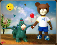 going together: love is in the air (Ryuu) Tags: bear pink blue red sky orange cloud brown sun sunlight white black anime tree cute green bird art love fruits sunshine birds animal yellow collage clouds dark walking hearts stars toys nose gold golden flying wings cg eyes sand holding hands cherries doll dolls dragon pants heart action sweet bokeh walk balloon manga atmosphere tshirt sunny ground plastic together teddybear hero kawaii figure characters ribbon shorts heroes paws lovely sunrays stroll figures cherrytree greendragon droopyearbear