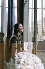 Jillian (196) (Sydney K.) Tags: light shadow portrait paris france color reflection art film window girl statue museum analog writing 35mm lens french greek person 50mm mirror exposure pentax kodak head map louvre grain overlay double musee arabic iso 100 mm manual 35 triple ektar