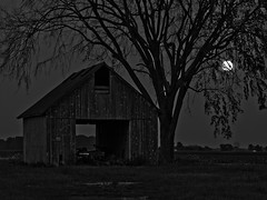 Shed & Moon (ramseybuckeye) Tags: road ohio moon tree night barn dark state south shed 66 full route rise