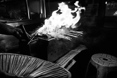 Satay (Luminor) Tags: leica travel food heritage history asian fire photography blackwhite asia artistic citylife culture places georgetown historic unesco made flame german elements malaysia sin passion penang xv roadside cooked truly grilled satay hawker foodie skill pinang benedict heritagesite localscenes apsc leicaimages xvario lifeinpenang