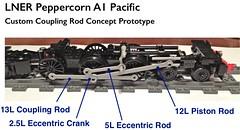 Lego LNER A1 Peppercorn Custom Rods Prototype (michaelgale) Tags: lego wip steam locomotive a1 custom rods coupling peppercorn moc lner