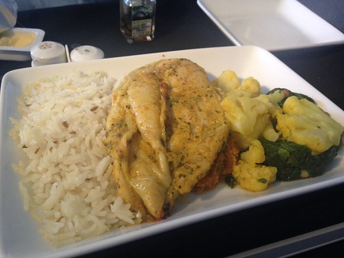American Airlines business class chicken main
