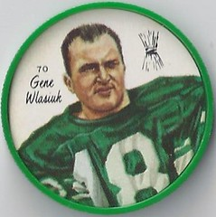 1964 Nalley's Potato Chips CFL Plastic Football Coin (type 2 back) - GENE WLASIUK #70-N (Sakatchewan Roughriders / Canadian Football League) (trader) (Baseball Autographs Football Coins) Tags: 1964 nalleys football coins caps footballcoins footballcaps bclions britishcolumbialions edmontoneskimos calgarystampeders saskatchewanroughriders winnipegbluebombers blank back blankback cfl canadianfootballleague potatochips vintage type1 type2 errorback genewlasiuk