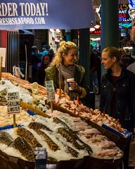 Seattle   |   Pike Place Market (JB_1984) Tags: pikeplacemarket market pikeplace fishmonger fishstall stall person people woman women shopper shopping portrait candidportrait streetphotography seattle kingcounty washington wa unitedstates usa