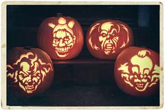 Send in the Clowns ... (BB Ramone) Tags: halloween samhain pumpkins zombiepumpkins jackolantern jackolanterns carving art clowns killerclowns it pennywise twisty americanhorrorstory nikon nikond7200 vintage