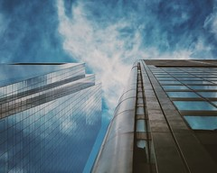 Towering Lines (Darren LoPrinzi) Tags: iphone iphone7 iphone7plus smartphone architecture perspective architectural building structure skyscraper philly philadelphia city urban lines diagonal diagonals sky clouds centercity windows glass reflections f64g79r1win