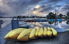 Who left a bunch of bananas at the shore? (PeterThoeny) Tags: mountainview california bay sanfranciscobay cloudy clouds day dusk boat boatrental kayak nex6 selp1650 1xp raw hdr photomatix sanjose siliconvalley pond salt reflection waterreflection outdoor sky cloud water sunset shoreline shorelinepark park qualityhdr qualityhdrphotography serene waterfront landscape fav200