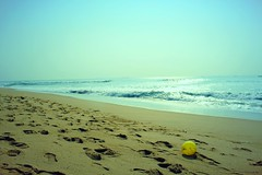 The ball, sand and waves. (Dream.wide.open) Tags: sand ball view beauty india photography waves shore sky outdoor travel flick