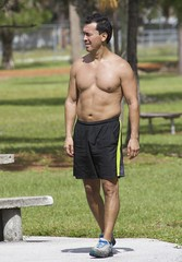 Man in Park (LarryJay99 ) Tags: westpalmbeach outside male guy dude haverhillpark florida men man guys dudes shirtless chest legs face candid unsuspecting navel navels belly shorts arms pits
