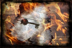 fire (Jackal1) Tags: fire key newspaper text words metal 50mm canon creative arty flame burn conceptual