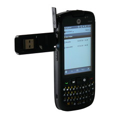 USB OTG flash drive connected to Motorola ES400