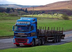 Tennant Transport of Forth Volvo FH WX11KFZ on the A9 at Bruar, 18/10/16 (andyflyer) Tags: tennanttransport forth wx11kfz a9 hgv lorry truck transport haulage roadhaulage