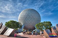 Photographing an Icon (Scottwdw) Tags: intensifyck macphun orlando futureworld clouds leavealegacy travel blue spaceshipearth waltdisneyworld sky filter vacation polarizer epcot florida unitedstatesofamerica 840 morning