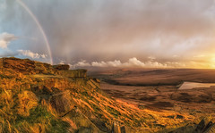 Sunset after the rain at Buckstones (Mark Schofield @ JB Schofield) Tags: pennines pennineway peat nationalpark thenationaltrust marsden huddersfield yorkshire landscape rock buckstones scammonden marchhaigh reservoir sunset rainbow pulehill moors moorland autumncolours