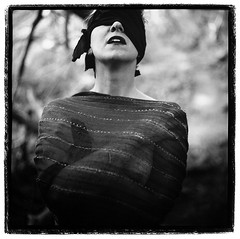 Anne (Jason Andrescavage) Tags: blindfold bw hasselblad medium format model portrait sheer square darkroom silver print forest