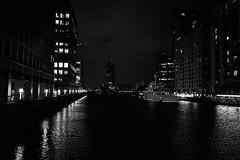 untitled (ChrisRSouthland) Tags: london mm mmonochrom leicammonochrom elmarit28mmf28 water reflection nightshot nightlights canal harbour