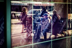 waiting in reflection (alexhaeusler) Tags: street people window reflection busstation waiting