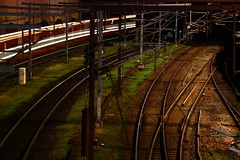 Train track - light trail (Bwaah) Tags: train tracks grass colors green brown night exposure long light trail power wire electricity movement copenhagen