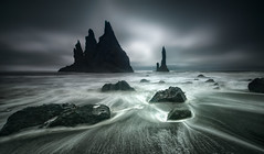 The Sea Stacks of Vk  Mrdal (hpd-fotografy) Tags: arctic beautiful flowing geology goldencircle iceland nordic pure reynisdrangar sandinavia scenic atmosphere blue clouds dramatic mood nature outdoors sea seascape sky travel ultrawide water