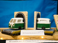 3-D printed VW Bus book ends by Wendy Johnson, West Coasters (marketkim) Tags: holidaymarket stockingstuffers product soeug eugene oregon saturdaymarket festival artfair eugenesaturdaymarket artfestival