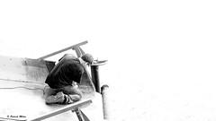 Work on Fishing boat (patrick_milan) Tags: work travail noiretblanc blackandwhite noir blanc monochrome nb bw black white landscape sea mer iroise water plouguin saint pabu brittany bretagne saintpabu ploudalmezeau porsall finistre bateau ship boat voilier pche sailing fishing ocean port harbour quay quai buoyant buoy street rue people personne gens streetview homme man viril beau boy garon beautiful portrait face candide