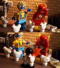Poultry Pursuit! Part 1 (Andrew Cookston) Tags: lego dc comics dccomics flash theflash central keystone city thetrickster jamesjesse chickens moc custom minifig christo christo7108 stilllife toy macro photography andrewcookston