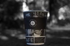 Paper Tea Cup (B&W) (ReeceDonaldson) Tags: paper cup tea green black white monochrome holker bokeh coffe mug warm cold hot