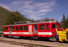 Furka-Oberalp-Bahn (FO) BDeh 2/4 electric railcar No. 41 at Realp, Switzerland on 13 Aug 2016 (Trains and trams eveywhere) Tags: furkaoberalpbahn bdeh24 electric railcar fo mgb matterhorngotthardbahn class hge44 loco realp switzerland railways schweiz gotthard furka