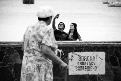 Raising Questions (Ktoine) Tags: selfie couple teenagers blackandwhite bw granny grandma hat cane sea seaside crimea russia candid street