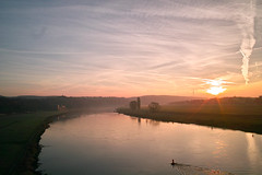 Good morning (derliebewolf) Tags: sigma sigmadp1x sunrise commuting commute cycling elbe dresden earlymorning fog foggy haze nature river water trees meadows