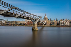St Pauls and Millennium Bridge (21mapple) Tags: stpauls cathedral millenniumbridge millennium bridge london long longexposure exposure outdoors outdoor outside o old out river riverthames england britain sky dome blue