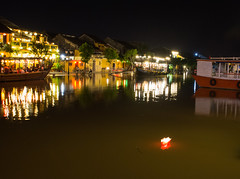 City of lights (Xnalanx) Tags: asia boat buildings environment hoian lanterns lighting manmade night objects places restaurant river time vehicles vietnam water