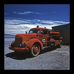 Death Valley I (Emilio Casini) Tags: deathvalley usa desert deserto cielo sky caldo warm hasselblad viaggio travel landscape paesaggio firetruck rosso red blu clouds nuvole truck
