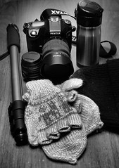 #17 for 116 in 2016: Take a hike day (f8shutterbug) Tags: idb pentax1835 blackwhite 17116in2016 thermos coffee togue gloves monopod hiking monochrome