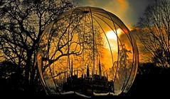 Viennese snow globe (christikren) Tags: wien vienna austria rathausplatz schneekugel silhouette gelb orange rathaus miniatur kugel baum tree weihnachten sunset abendlicht advent schnefotos travel panasonic europe himmel sky