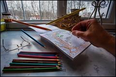 Adult Coloring Book (Terry L Richmond) Tags: coloringbook adult colors colours colorful pencils floating levitation desk canon6d canon1740 window