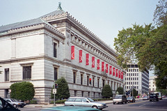 Corcoran Gallery of Art — Washington, D.C. (Pythaglio) Tags: corcoran gallery art building structure historic museum civic ernest flagg beauxarts classical revival neoclassical stone 1897 pilasters carvings windows water table grilles acroteria frieze flags street cars automobiles sidewalk bushes hedges trees washington dc district columbia 1994 negative scanned film
